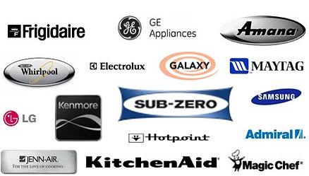 KitchenAid, Sub-Zero, Frigidaire, GE, Amana, Whirlpool, Electrolux, Galaxy, Maytag, LG, Kenmore, Samsung, Hotpoint, Jenn Air, Magic Chef