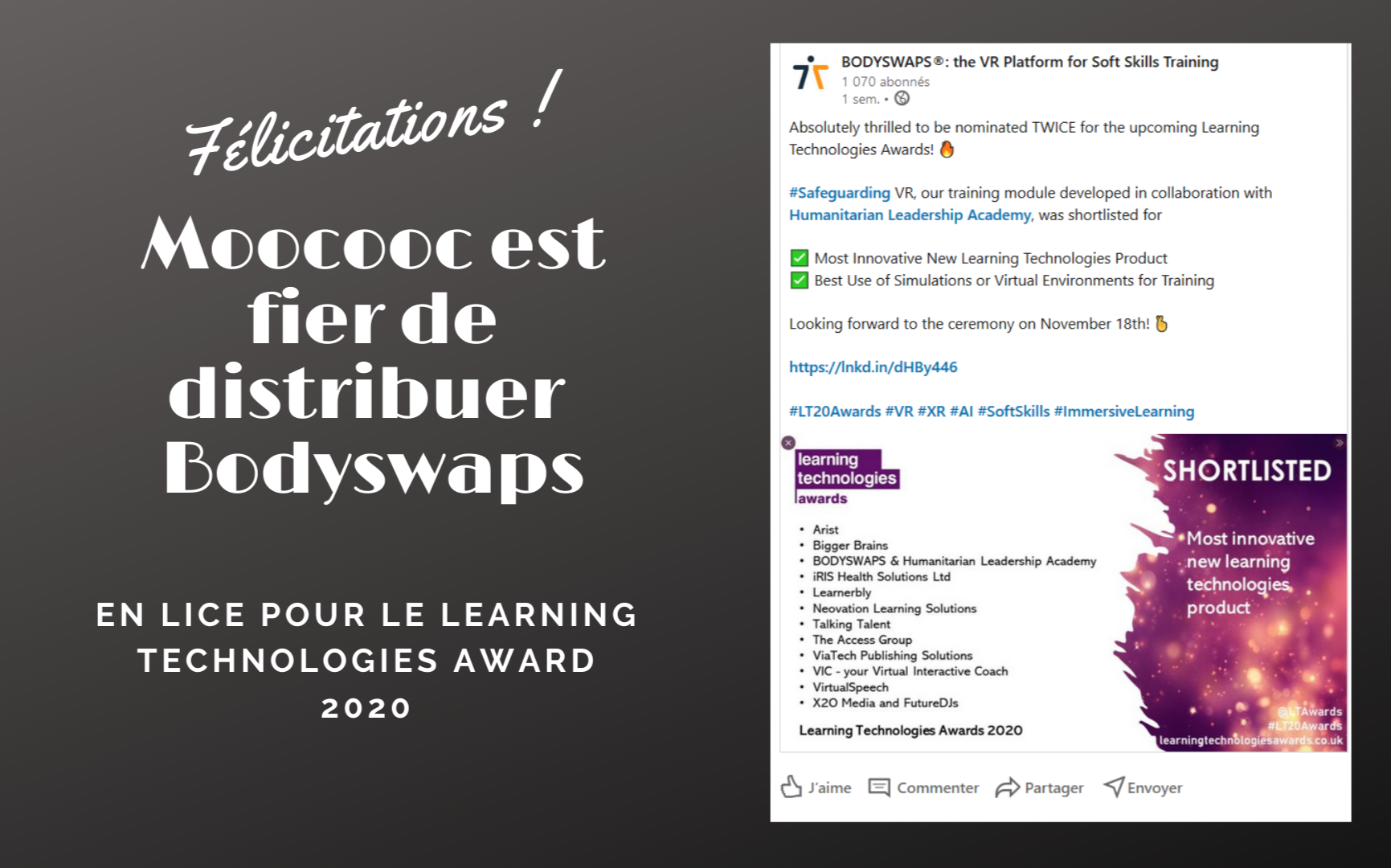 Bodyswaps Learning Technologies Award