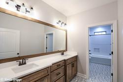 Bold patterned tile bathroom