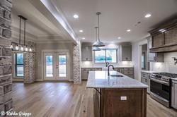 Open floor plan with spacious kitchen