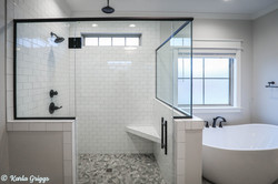 Subway tile shower with multiple heads
