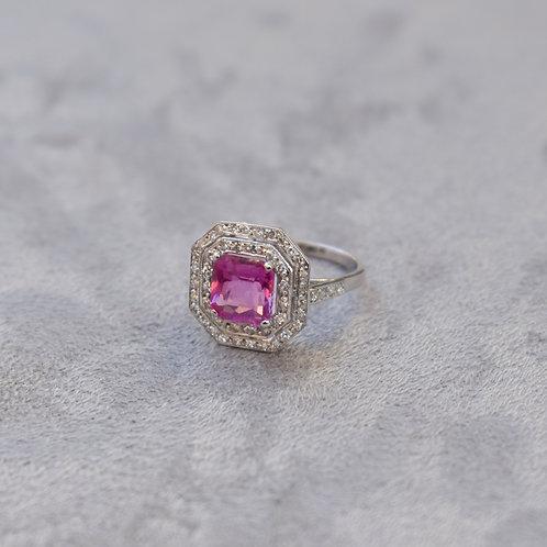 Art Deco Pink Sapphire Ring