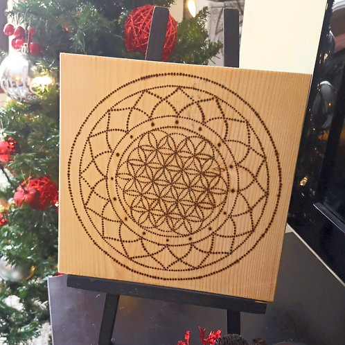 'Flower of Life' Wood burnt Plaque