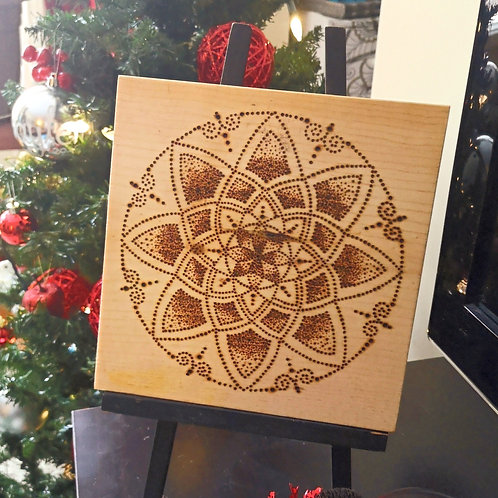Wood burnt plaque Mandala