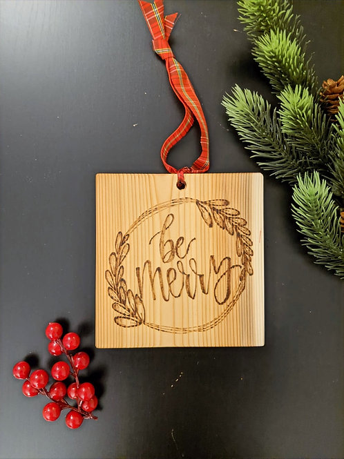 """Be Merry"" Wood Plaque"