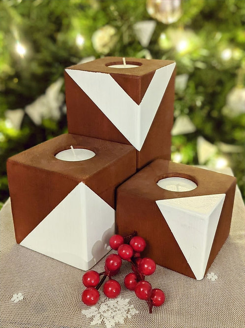 Wooden candle Holder Set of 3