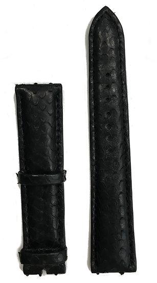 Black python leather watch band