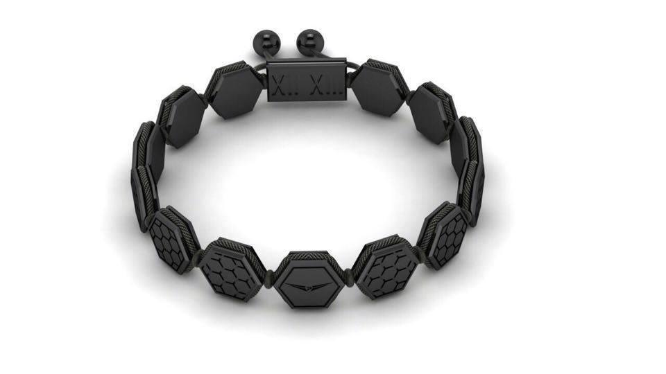 Sterling Silver Black Honeycomb Bracelet