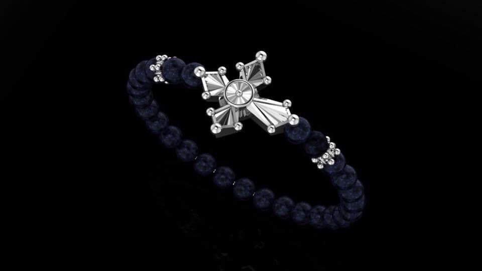 Agate & Blooming Cross Bracelet