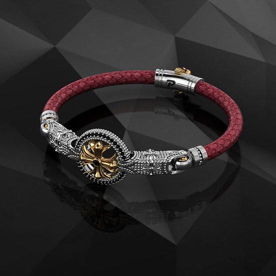 Red Python & Sterling Silver Bracelet