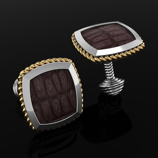 Sterling Silver & Brown crocodile skin cufflinks