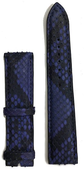 Blue & black python leather watch band