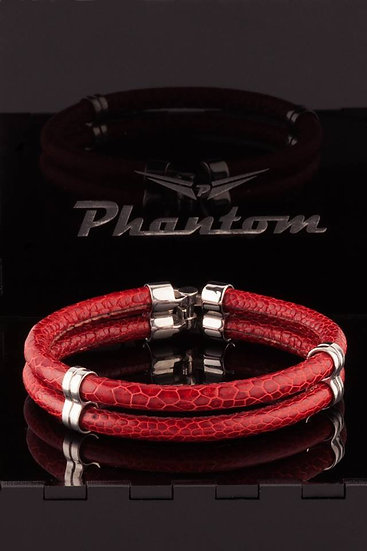 Red Ostrich Double Leather Bracelet