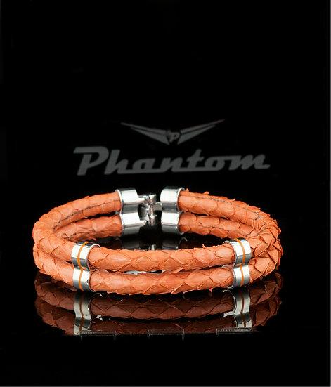 Orange Double Python Leather Bracelet