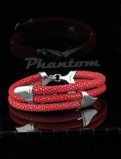 Red Stingray Triple Leather Bracelet