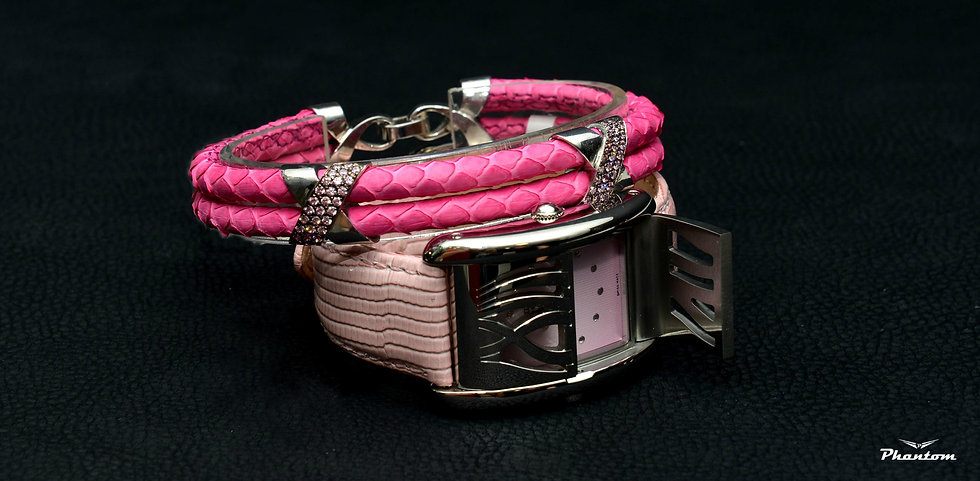 Pink Python Leather Bracelet