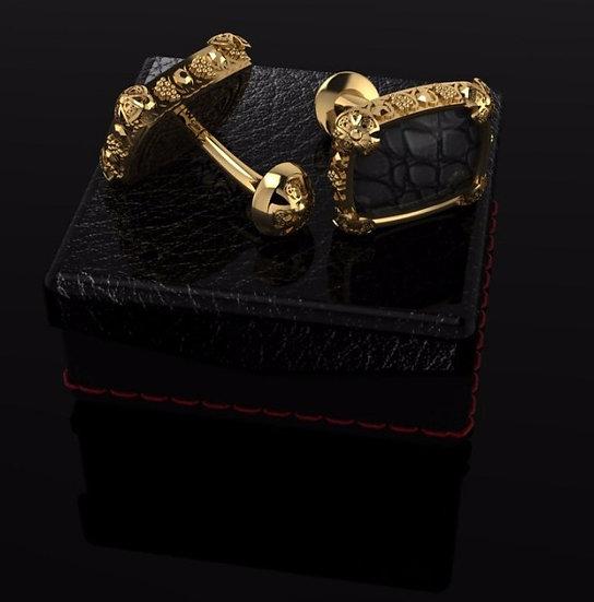 Sterling silver & black crocodille skin cufflinks