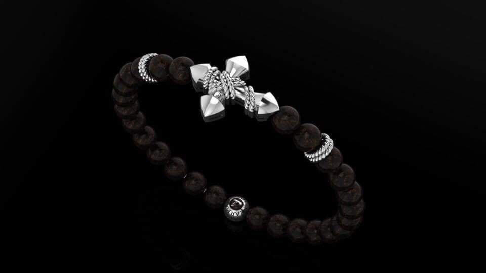 Onyx & Rope Cross Bracelet