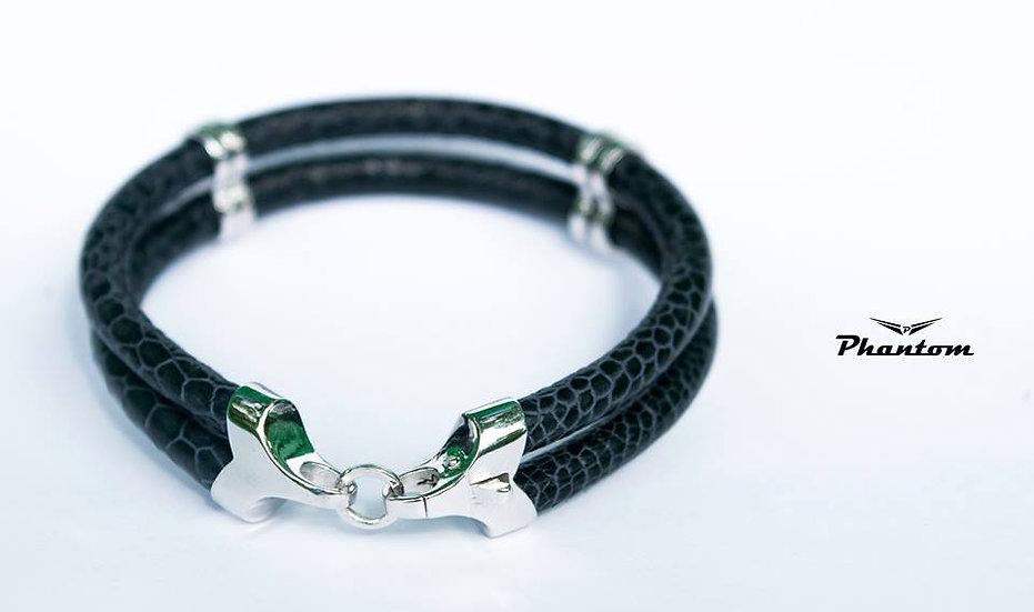Black Ostrich Leather Bracelet