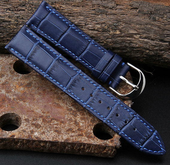 Blue crocodile leather watch band