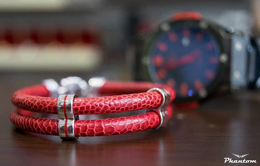 Red Ostrich Leather Bracelet