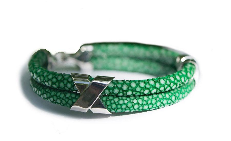 Green stingray Double cross bracelet
