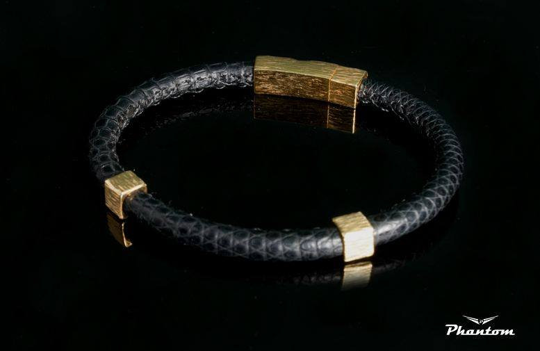 Black Lizard Leather Bracelet