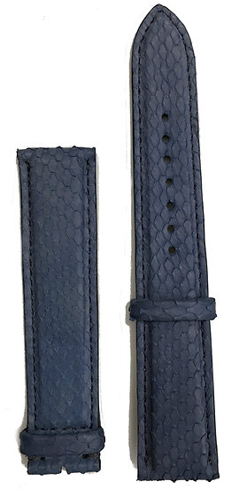 Blue python leather watch band
