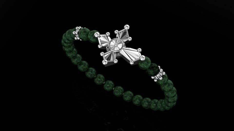Malachit Khaulite & Blooming Cross Bracelet