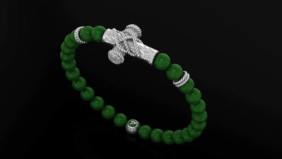 Green Khaulite & Rope Cross Bracelet