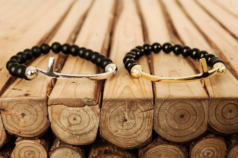 Black Onyx Bracelet with Cross