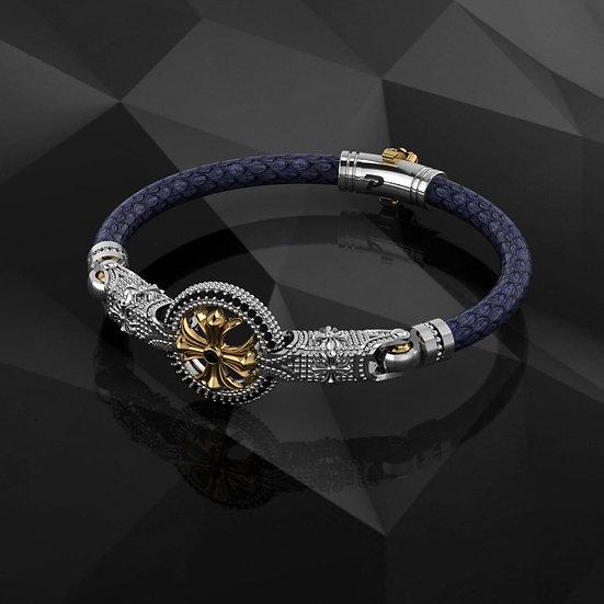 Blue Python & Sterling Silver Bracelet