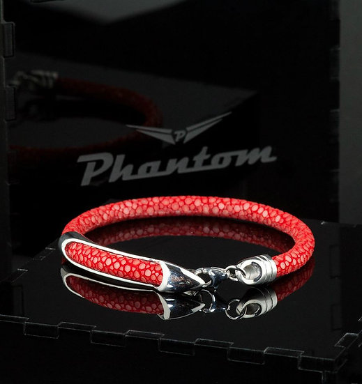 Red Stingray Leather Bracelet