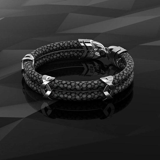 Black stingray & Sterling Silver Bracelet