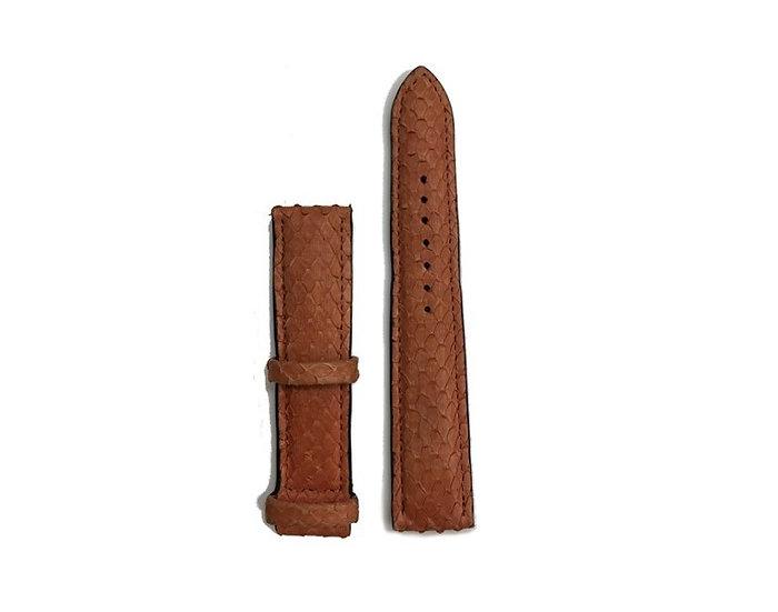 Orange python leather watch band