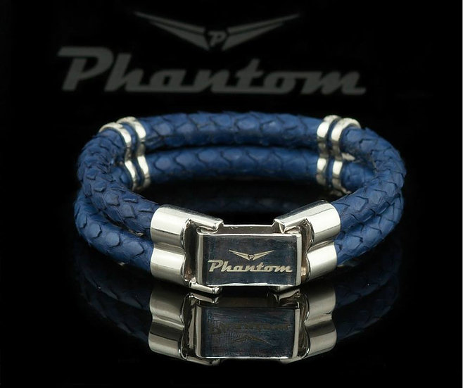 Blue Python Leather Bracelet
