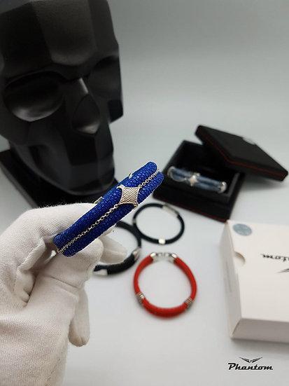 Blue stingray leather bracelet