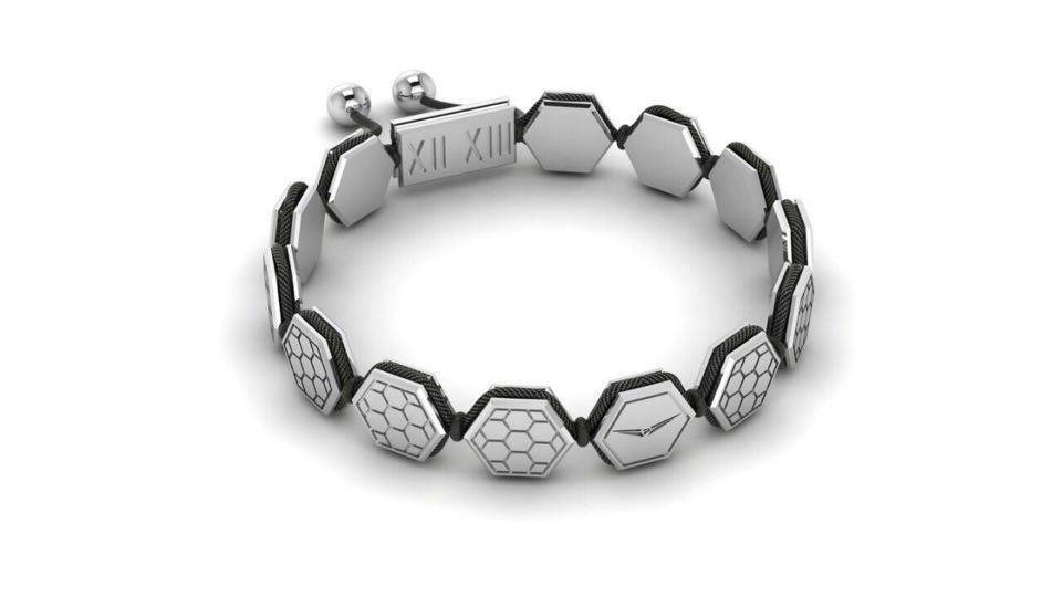 Sterling Silver White Honeycomb Bracelet