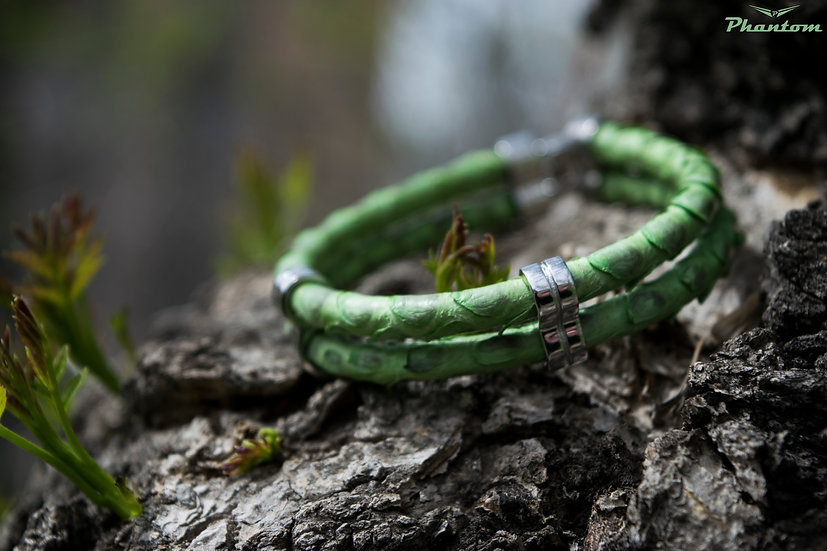 Green Python Double Leather Bracelet