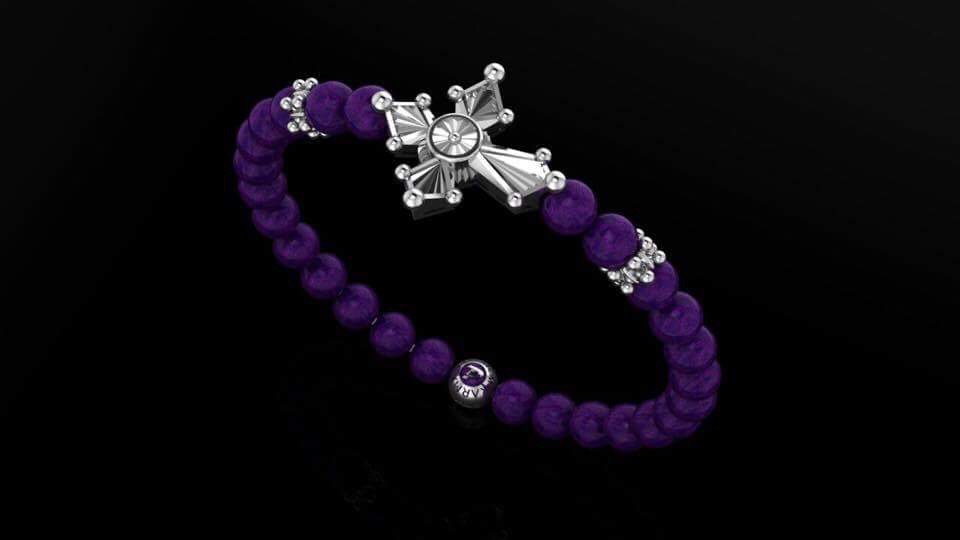 Purple Lapis & Blooming Cross Bracelet