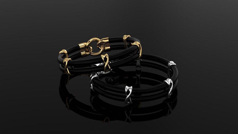Black angus leather bracelet