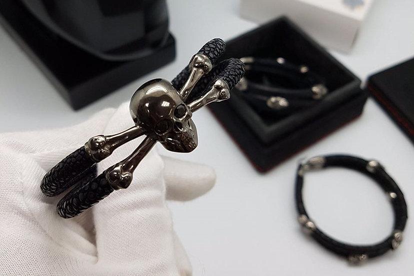 Black stingray leather bracelet