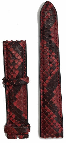 Red & black python leather watch band