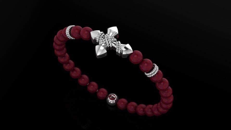 Coral & Rope Cross Bracelet