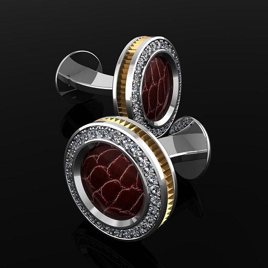 Sterling silver & red crocodile skin cufflinks