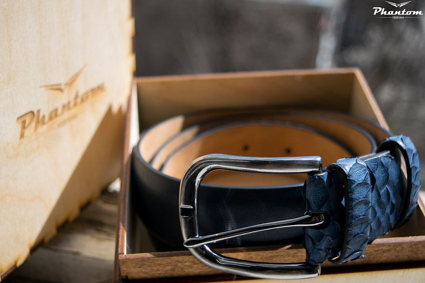 Blue Python Leather & Calfskin Belt