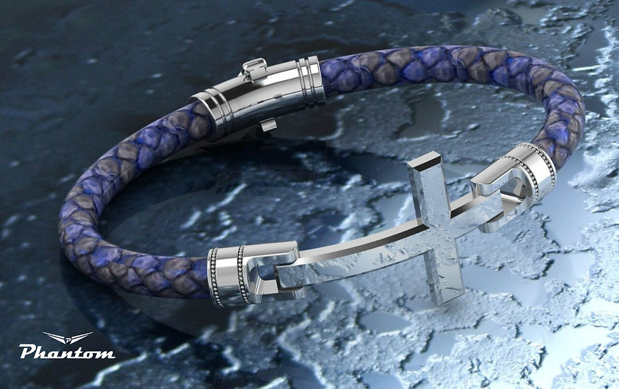 Blue python and Sterling Silver