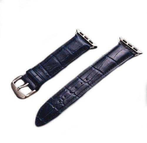 Dark blue crocodile leather Apple watch band