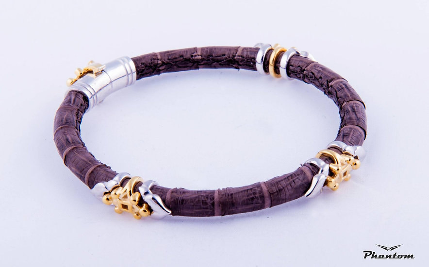 Brown python leather bracelet