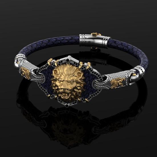Blue python & sterling silver Lion Bracelet